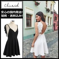 Chicwish Short Sleeveless V-Neck Plain Elegant Style Slip Dresses