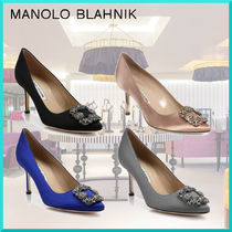 Manolo Blahnik Plain Pin Heels Party Style Pointed Toe Pumps & Mules