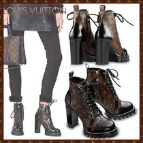 Louis Vuitton MONOGRAM Monogram Plain Toe Lace-up Blended Fabrics Studded Bi-color
