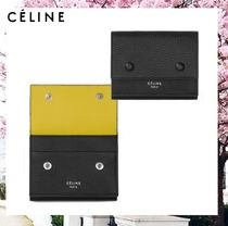 CELINE Flap Calfskin Bi-color Plain Folding Wallets