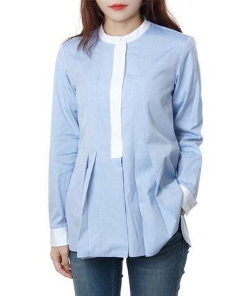 Long Sleeves Cotton Medium Office Style Shirts & Blouses