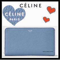 CELINE Classic Unisex Calfskin Bi-color Plain Long Wallets