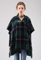 Chicwish Short Other Check Patterns Wool Street Style Ponchos & Capes
