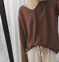 Casual Style Street Style V-Neck Plain Medium Oversized