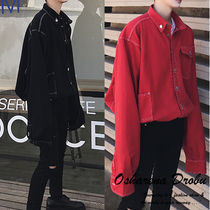 Button-down Street Style Long Sleeves Plain Oversized Shirts