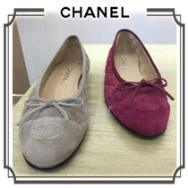 CHANEL Round Toe Block Heels Elegant Style Ballet Shoes