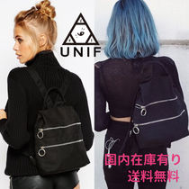 UNIF Clothing Casual Style Cambus Street Style Plain Backpacks