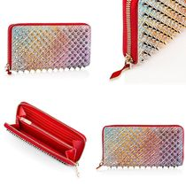 Christian Louboutin Panettone  Unisex Plain Leather Handmade Long Wallets