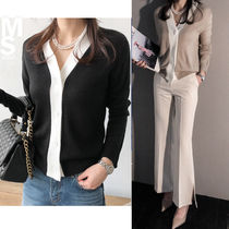 NANING9 Casual Style V-Neck Bi-color Long Sleeves Medium Cardigans