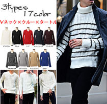 Stripes Long Sleeves Plain Knits & Sweaters
