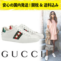 GUCCI Casual Style Studded Leather Low-Top Sneakers