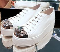MiuMiu Platform Lace-up Casual Style Plain Leather With Jewels