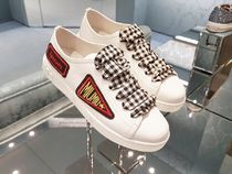 MiuMiu Gingham Round Toe Lace-up Casual Style Leather