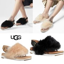 UGG Australia Platform Fur Blended Fabrics Plain Platform & Wedge Sandals