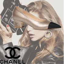 CHANEL Plain Leather Block Heels Party Style
