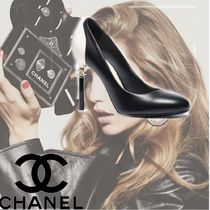 CHANEL Plain Leather Pin Heels Elegant Style