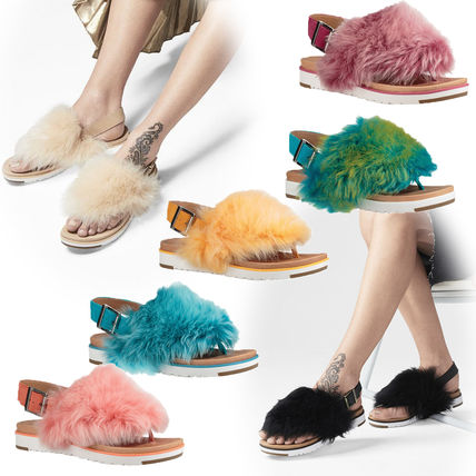 Casual Style Sheepskin Plain Footbed Sandals Flat Sandals