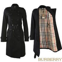 Burberry THE SANDRINGHAM Other Check Patterns Casual Style Long Trench Coats