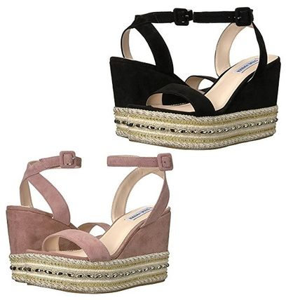 Open Toe Suede Plain With Jewels Platform & Wedge Sandals