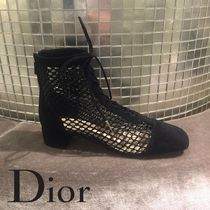Christian Dior Lace-up Suede Plain Block Heels Lace-up Boots