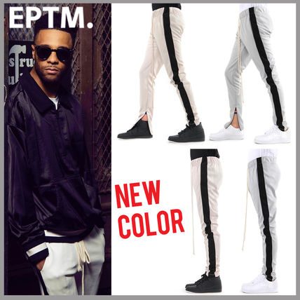 Street Style Bi-color Plain Joggers & Sweatpants