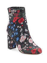VALENTINO Flower Patterns Round Toe Chunky Heels Ankle & Booties Boots