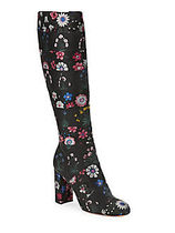 VALENTINO Flower Patterns Round Toe Chunky Heels High Heel Boots