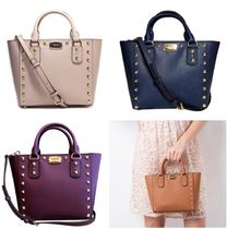 Michael Kors Saffiano Studded 2WAY Plain Elegant Style Handbags