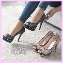 Open Toe Enamel Studded Plain Pin Heels Party Style