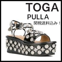 TOGA Open Toe Platform Casual Style Studded Leather