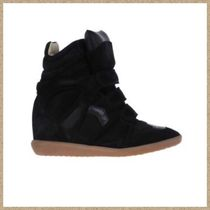 Isabel Marant Round Toe Suede Plain Low-Top Sneakers