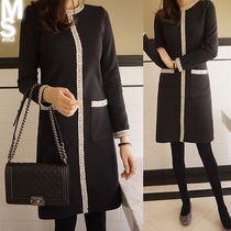 Tight Street Style U-Neck Long Sleeves Cotton Medium Midi