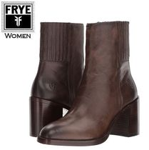 FRYE Square Toe Casual Style Plain Leather Block Heels