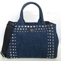 PRADA CANAPA Casual Style Cambus 2WAY With Jewels Totes