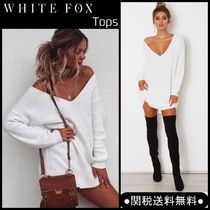 WHITE FOX V-Neck Long Sleeves Plain Long Oversized Sweaters
