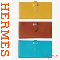 HERMES Bearn Unisex Plain Leather Handmade Long Wallets
