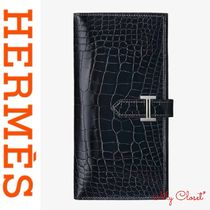 HERMES Bearn Unisex Crocodile Plain Handmade Long Wallets
