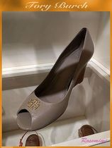 Tory Burch Open Toe Plain Leather Peep Toe Pumps & Mules