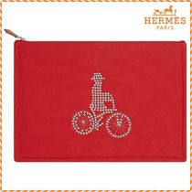 HERMES Unisex Canvas Studded Pouches & Cosmetic Bags