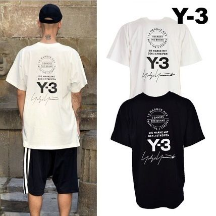 Y-3 Crew Neck Crew Neck Unisex Street Style Cotton Short Sleeves Oversized