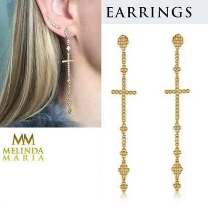 Cross Silver Brass Elegant Style Earrings & Piercings