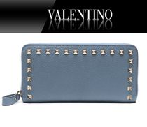 VALENTINO Studded Plain Leather Long Wallet  Long Wallets