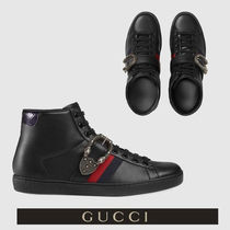 GUCCI Stripes Mountain Boots Street Style Plain Leather Sneakers