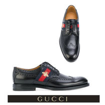 GUCCI Stripes Wing Tip Other Animal Patterns Leather Oxfords