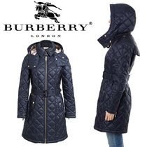Burberry Tartan Plain Long Down Jackets