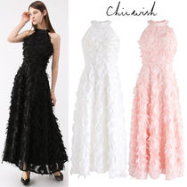 Chicwish Maxi Chiffon Tassel Sleeveless Halter Neck Plain Long