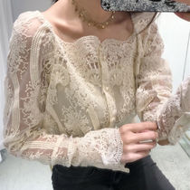 Flower Patterns Paisley Lace-up Long Sleeves Medium Lace