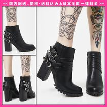 DOLLS KILL Round Toe Casual Style Faux Fur Plain Ankle & Booties Boots