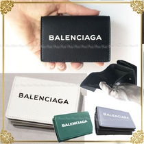 BALENCIAGA Unisex Bi-color Plain Leather Folding Wallets