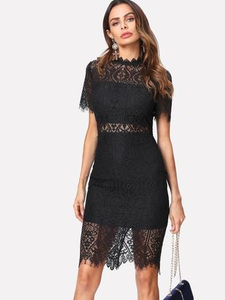 Dresses Flower Patterns Tight Short Sleeves Party Style High-Neck 3